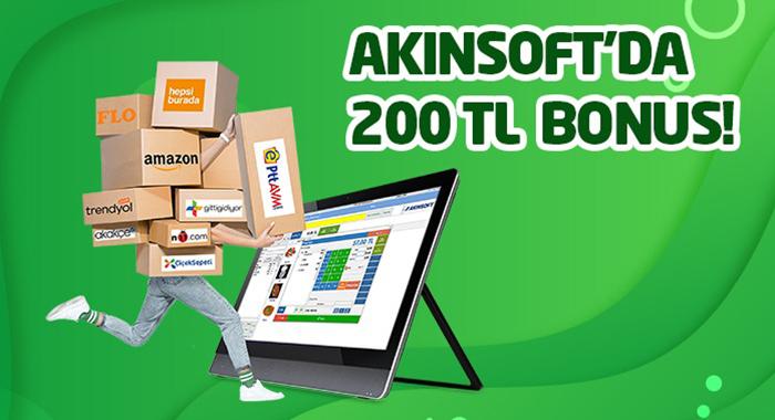 AKINSOFT Alışverişlerinde 200 TL Bonus Hediye