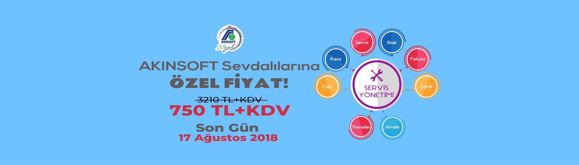 Akınsoft Sevdalılarına Özel Servis Yönetim 750 TL + KDV